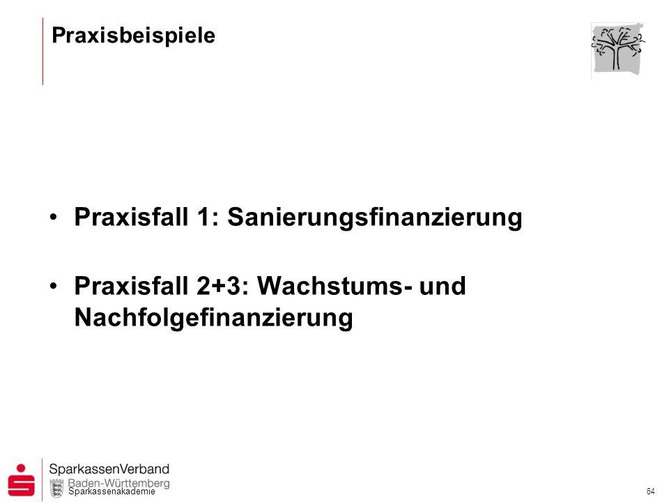Sparkassenakademie 64 Praxisbeispiele Praxisfall 1: Sanierungsfinanzierung Praxisfall 2+3: Wachstums- und Nachfolgefinanzierung
