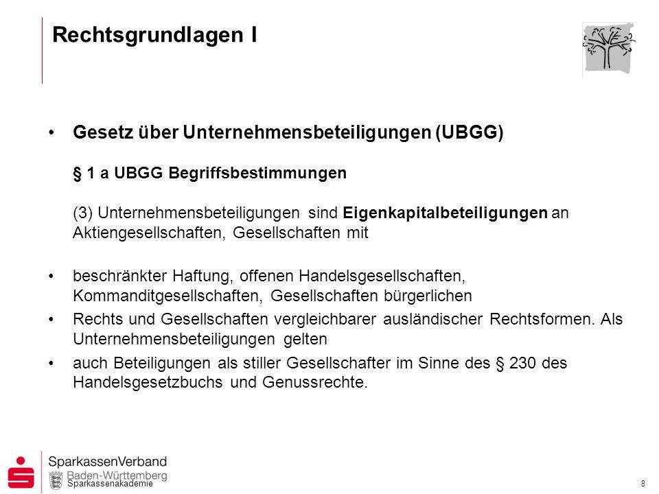 Sparkassenakademie 8 Rechtsgrundlagen I Gesetz über Unternehmensbeteiligungen (UBGG) § 1 a UBGG Begriffsbestimmungen (3) Unternehmensbeteiligungen sin