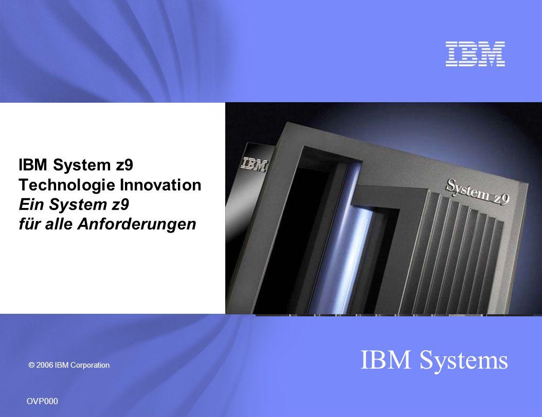 IBM Systems Entwickelt um Kapazität und Performance für 4 Gbps FICON/FCP Einheiten zu steigern Bis zu 25% Verbesserungen im FICON Kanaldurchsatz bei einem Mix von Lese und Schreiboperationen 1 Bis zu 65% Verbesserungen im FICON Kanaldurchsatz bei reinen Lese oder Schreiboperationen 1 220% cumulative MB/sec Durchsatz Verbesserung bei DB2 table scan tests für extended format data sets mit FICON Express4 auf z9 EC mit dem MIDAW facility verglichen mit FICON Express2 mit dem IDAW facility auf z9-109 2 Hilft die Kosten von Speicher Operationen zu optimieren und erlaubt kürzere Sicherungszeiten mit schnelleren Kanal und Datanraten Leichte Migration zu höherer Performance mit 1/2/4 Gbps auto-negotiating links Kostenbewusste FICON Ausführungen für kleinere Anforderungen durch 2-port oder 4-port Karten bei z9 BC Next generation 4 Gbps FICON/FCP … helping to improve capacity and performance OVP115 1.Large sequential data transfers on z9 EC with FICON Express4 operating at 4 Gbps (running z/OS V1.7) when compared to FICON Express2 on z9-109 (running z/OS V1.6) 2.Results of internal DB2 table scan tests with the z9 EC, the MIDAW facility, FICON Express4 operating at 4 Gbps (running z/OS V1.7), and the DS8000 compared to z9-109, and FICON Express2 operating at 2 Gbps (running z/OS V1.6) NEU FICON Express4 für System z9