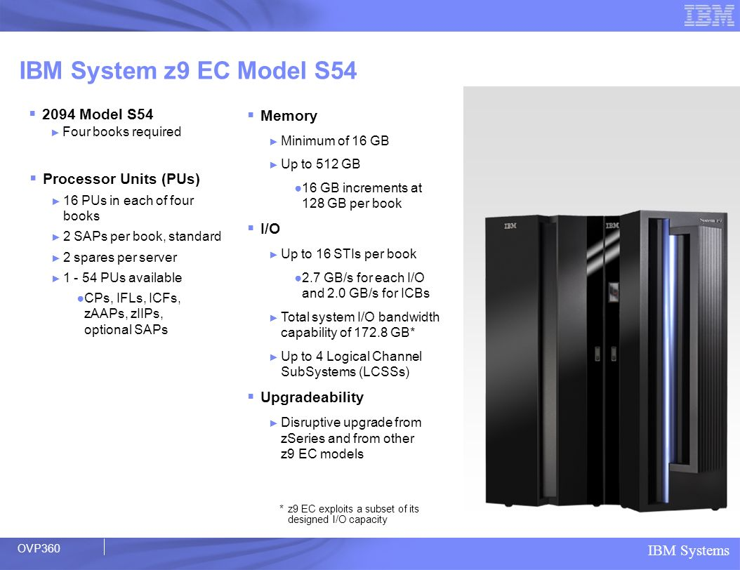 IBM Systems IBM System z9 EC Model S54 2094 Model S54 Four books required Processor Units (PUs) 16 PUs in each of four books 2 SAPs per book, standard