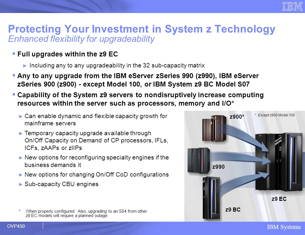 IBM Systems Full upgrades within the z9 EC Including any to any upgradeability in the 32 sub-capacity matrix Any to any upgrade from the IBM eServer z