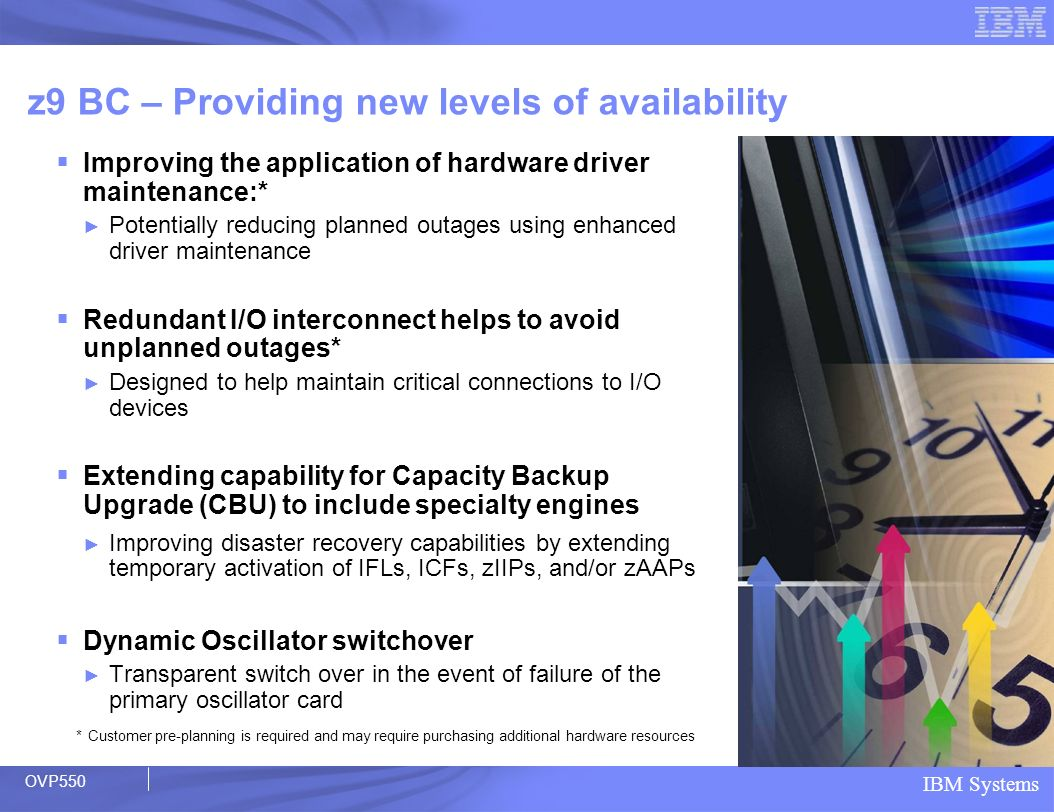 IBM Systems z9 BC – Providing new levels of availability Improving the application of hardware driver maintenance:* Potentially reducing planned outag