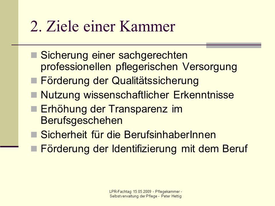 LPR-Fachtag 15.05.2009 - Pflegekammer - Selbstverwaltung der Pflege - Peter Hettig 2. Ziele einer Kammer Sicherung einer sachgerechten professionellen