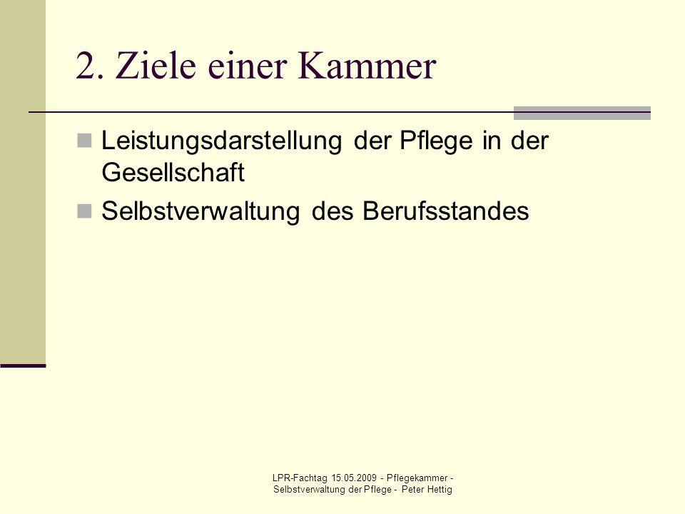 LPR-Fachtag 15.05.2009 - Pflegekammer - Selbstverwaltung der Pflege - Peter Hettig 2. Ziele einer Kammer Leistungsdarstellung der Pflege in der Gesell