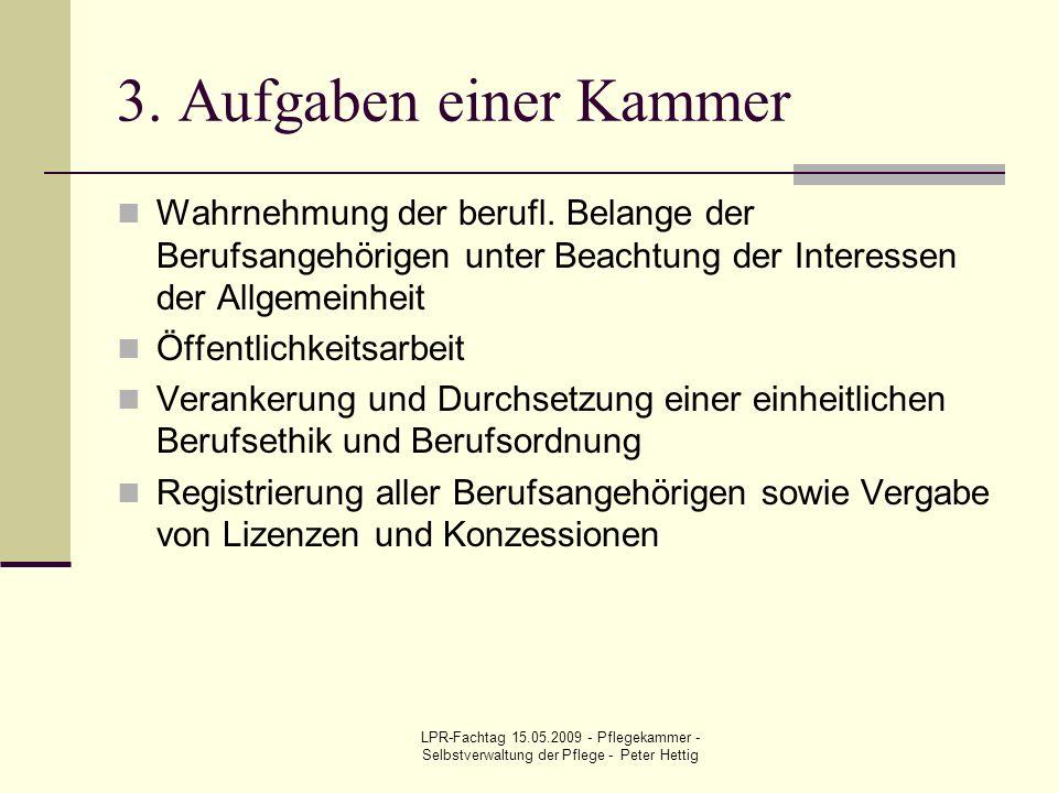 LPR-Fachtag 15.05.2009 - Pflegekammer - Selbstverwaltung der Pflege - Peter Hettig 3. Aufgaben einer Kammer Wahrnehmung der berufl. Belange der Berufs
