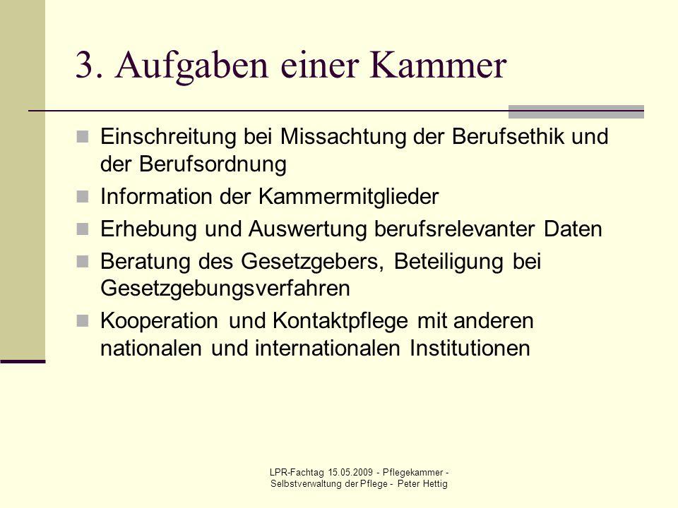 LPR-Fachtag 15.05.2009 - Pflegekammer - Selbstverwaltung der Pflege - Peter Hettig 3. Aufgaben einer Kammer Einschreitung bei Missachtung der Berufset