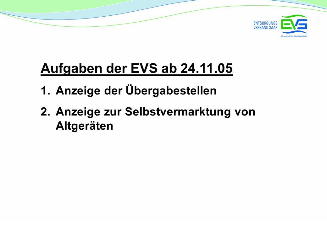 Aufgaben der EVS ab 24.11.05 1.Anzeige der Übergabestellen 2.Anzeige zur Selbstvermarktung von Altgeräten