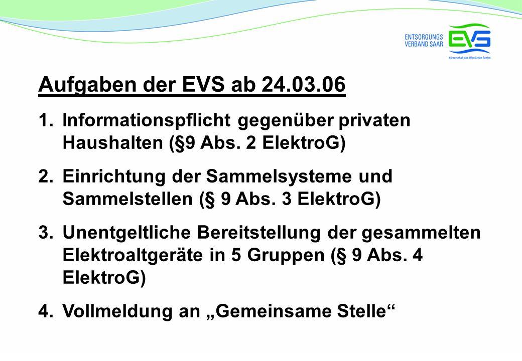 Aufgaben der EVS ab 24.03.06 1.Informationspflicht gegenüber privaten Haushalten (§9 Abs.