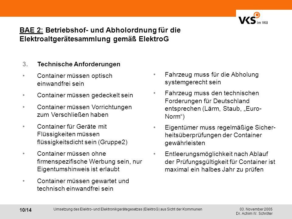 03. November 2005 Dr. Achim W. Schröter 10/14 Umsetzung des Elektro- und Elektronikgerätegesetzes (ElektroG) aus Sicht der Kommunen BAE 2: Betriebshof