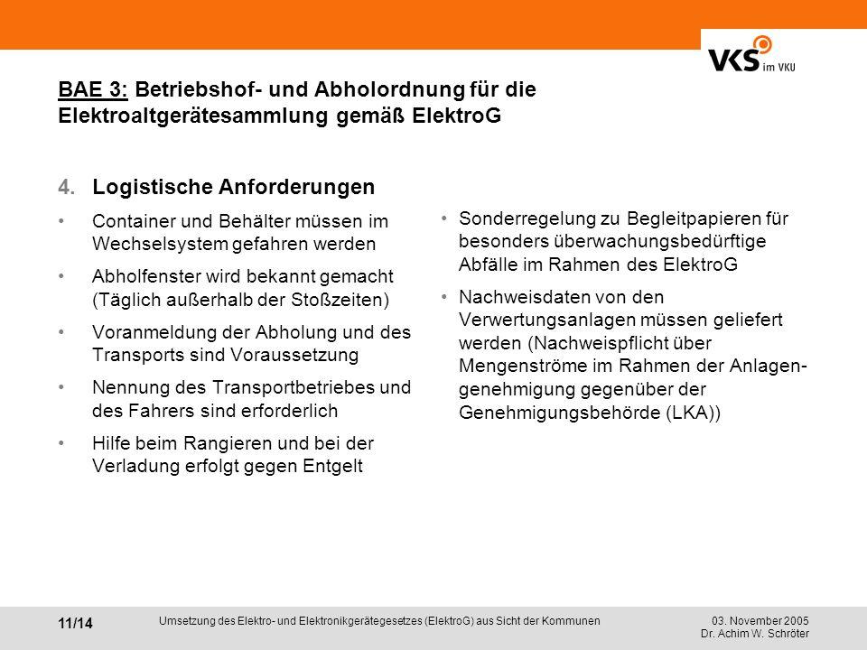 03. November 2005 Dr. Achim W. Schröter 11/14 Umsetzung des Elektro- und Elektronikgerätegesetzes (ElektroG) aus Sicht der Kommunen BAE 3: Betriebshof