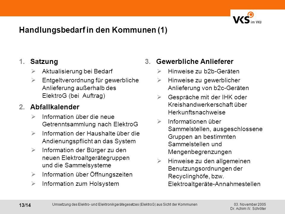 03. November 2005 Dr. Achim W. Schröter 13/14 Umsetzung des Elektro- und Elektronikgerätegesetzes (ElektroG) aus Sicht der Kommunen Handlungsbedarf in