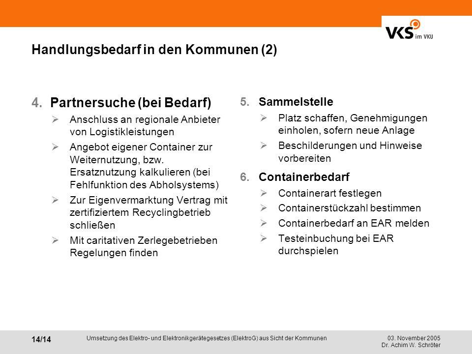 03. November 2005 Dr. Achim W. Schröter 14/14 Umsetzung des Elektro- und Elektronikgerätegesetzes (ElektroG) aus Sicht der Kommunen Handlungsbedarf in