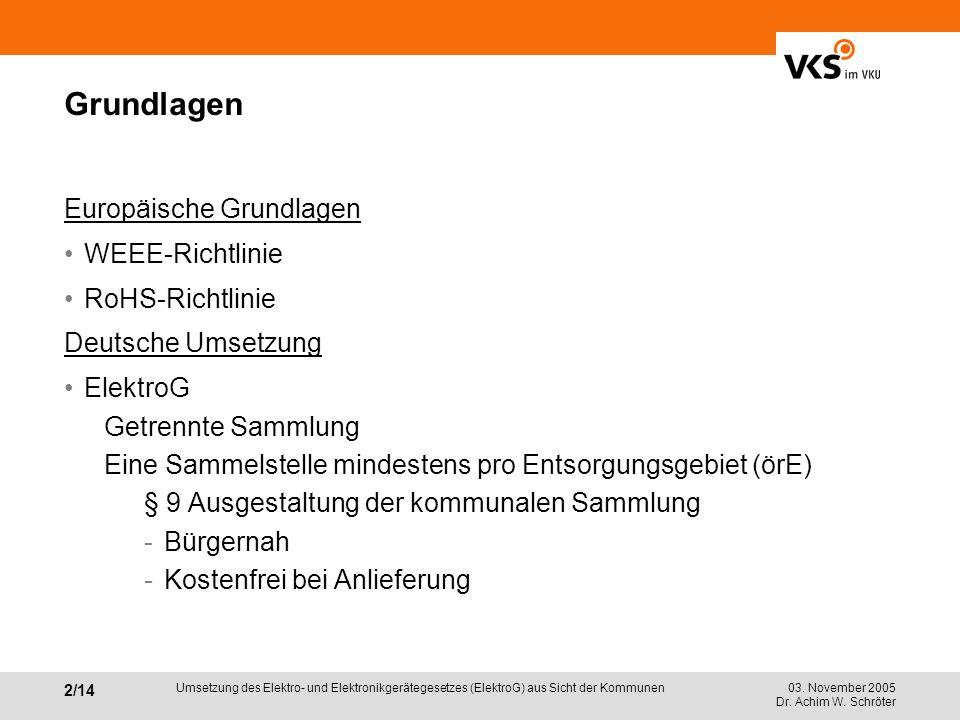 03. November 2005 Dr. Achim W. Schröter 2/14 Umsetzung des Elektro- und Elektronikgerätegesetzes (ElektroG) aus Sicht der Kommunen Grundlagen Europäis