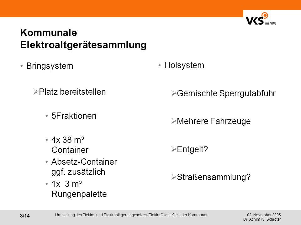 03. November 2005 Dr. Achim W. Schröter 3/14 Umsetzung des Elektro- und Elektronikgerätegesetzes (ElektroG) aus Sicht der Kommunen Kommunale Elektroal