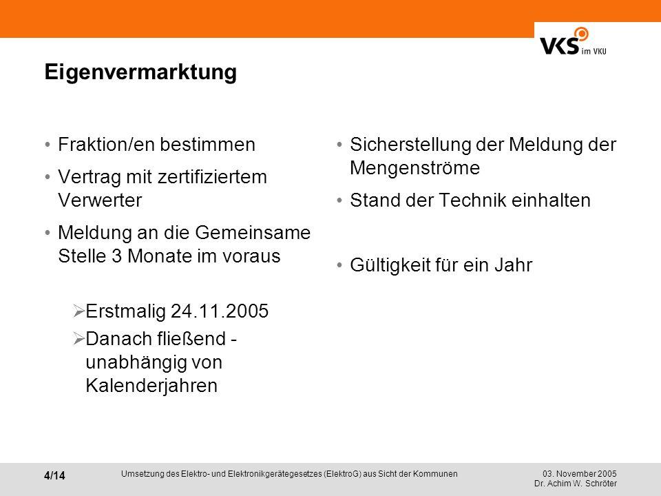 03. November 2005 Dr. Achim W. Schröter 4/14 Umsetzung des Elektro- und Elektronikgerätegesetzes (ElektroG) aus Sicht der Kommunen Eigenvermarktung Fr