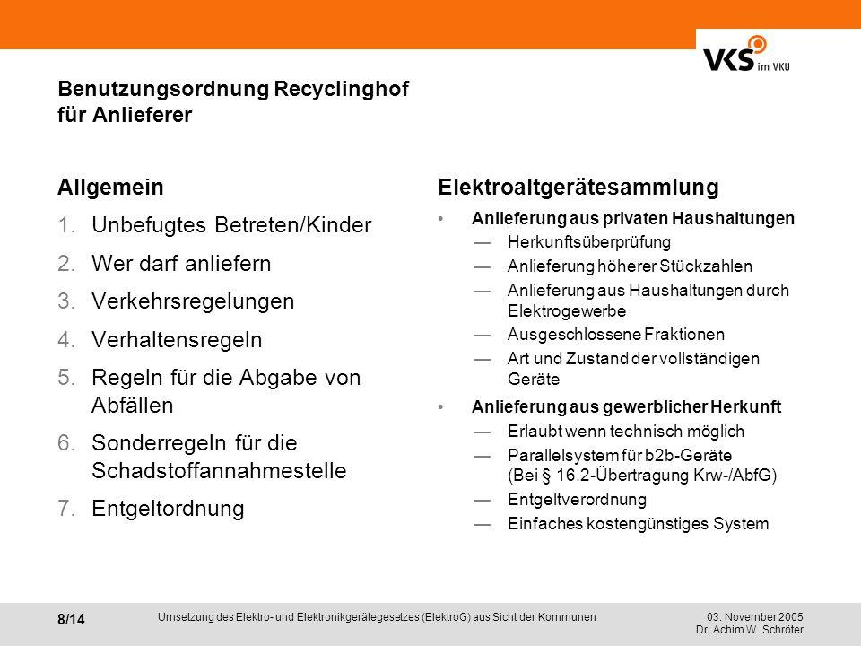 03. November 2005 Dr. Achim W. Schröter 8/14 Umsetzung des Elektro- und Elektronikgerätegesetzes (ElektroG) aus Sicht der Kommunen Benutzungsordnung R
