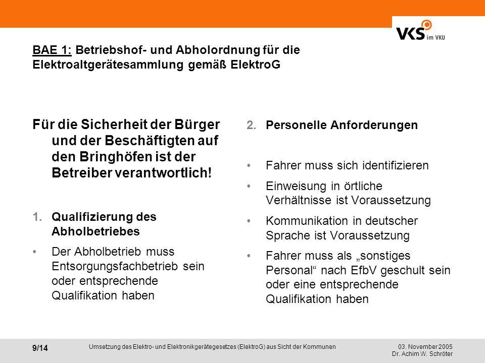 03. November 2005 Dr. Achim W. Schröter 9/14 Umsetzung des Elektro- und Elektronikgerätegesetzes (ElektroG) aus Sicht der Kommunen BAE 1: Betriebshof-