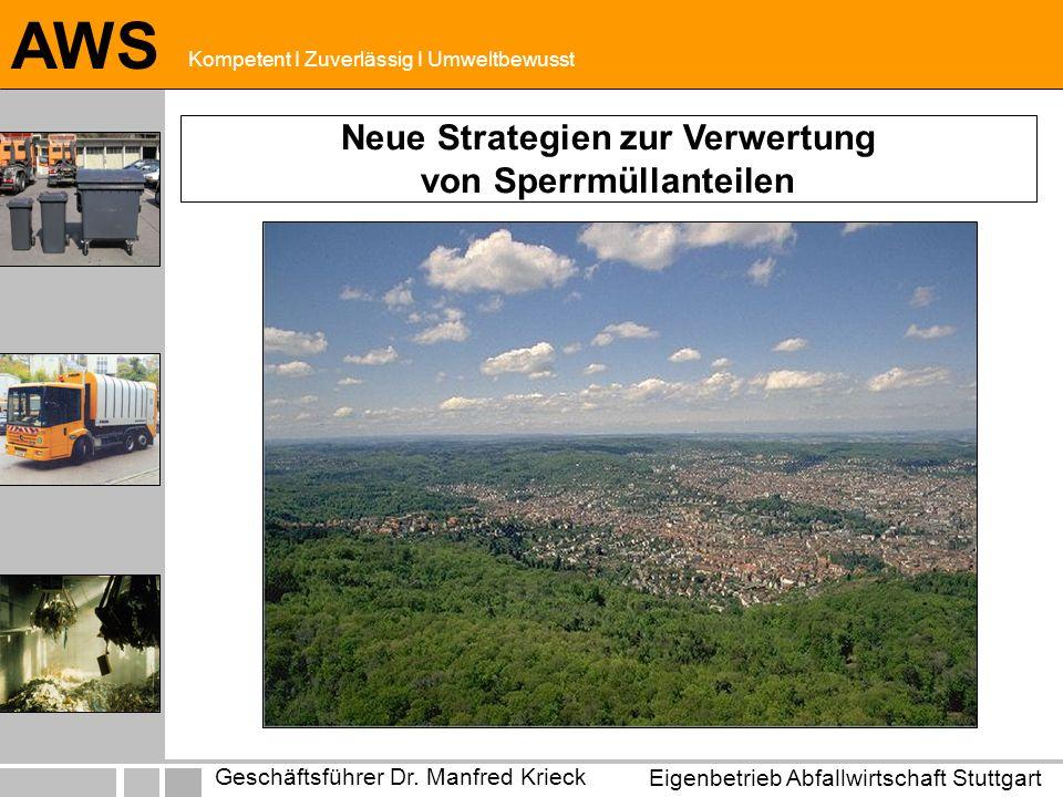 Eigenbetrieb Abfallwirtschaft Stuttgart Geschäftsführer Dr. Manfred Krieck AWS Kompetent I Zuverlässig I Umweltbewusst Neue Strategien zur Verwertung