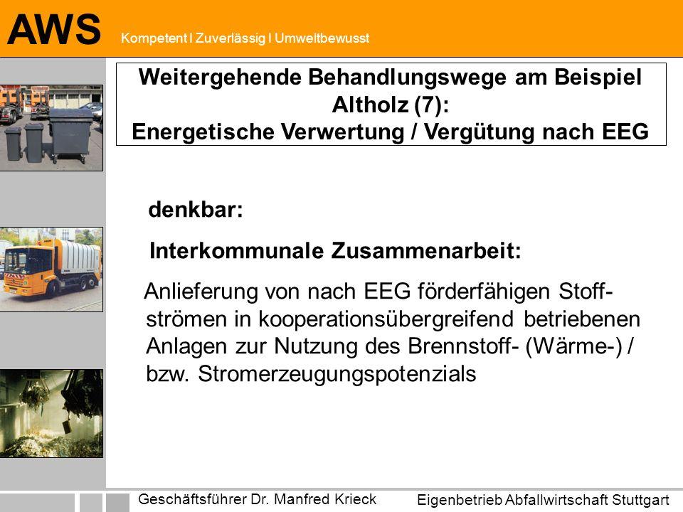 Eigenbetrieb Abfallwirtschaft Stuttgart Geschäftsführer Dr. Manfred Krieck AWS Kompetent I Zuverlässig I Umweltbewusst denkbar: Interkommunale Zusamme