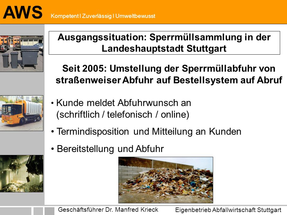 Eigenbetrieb Abfallwirtschaft Stuttgart Geschäftsführer Dr. Manfred Krieck AWS Kompetent I Zuverlässig I Umweltbewusst Ausgangssituation: Sperrmüllsam