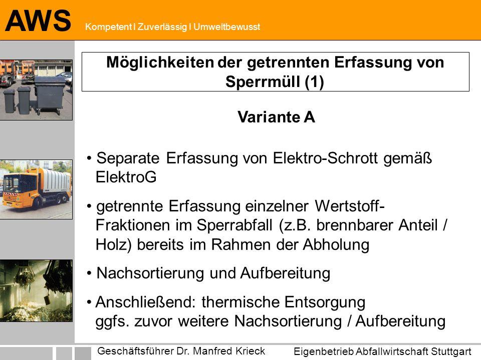 Eigenbetrieb Abfallwirtschaft Stuttgart Geschäftsführer Dr. Manfred Krieck AWS Kompetent I Zuverlässig I Umweltbewusst Möglichkeiten der getrennten Er