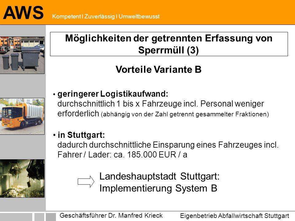 Eigenbetrieb Abfallwirtschaft Stuttgart Geschäftsführer Dr.