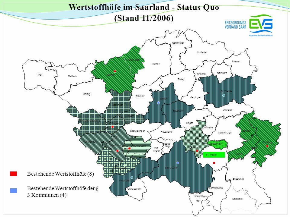 Förderkriterien der Wertstoffhöfe bis Ende 2006 (Beschluss des VR 19.03.02 und 23.11.04) Einzugsbereich: pro Einwohner 0,10 /a Ausgestaltung des Wertstoffhofes: max.
