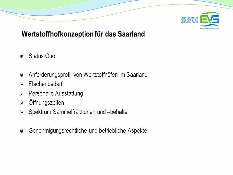 Wertstoffhofkonzeption für das Saarland Status Quo Anforderungsprofil von Wertstoffhöfen im Saarland Flächenbedarf Personelle Ausstattung Öffnungszeit