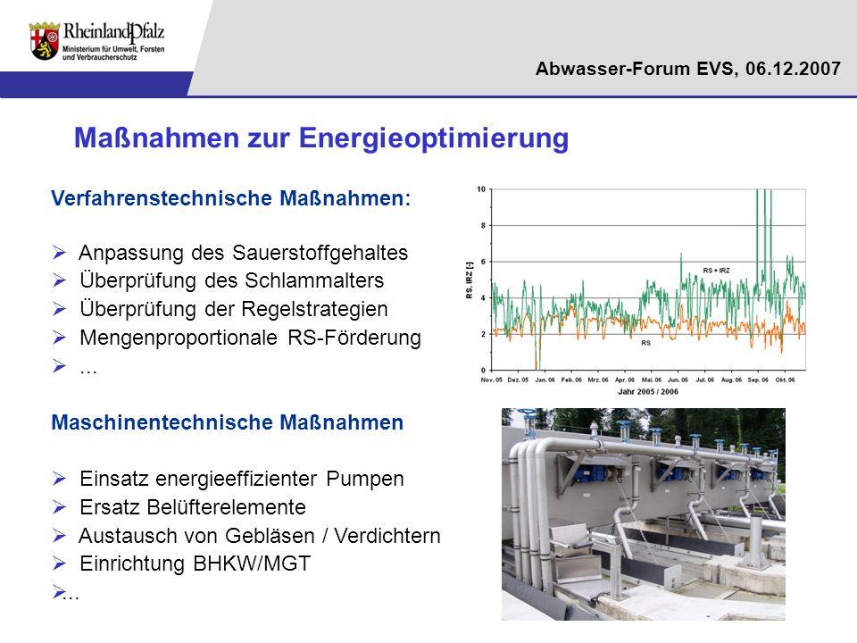 Abwasser-Forum EVS, 06.12.2007 Verfahrenstechnische Maßnahmen: Anpassung des Sauerstoffgehaltes Überprüfung des Schlammalters Überprüfung der Regelstr