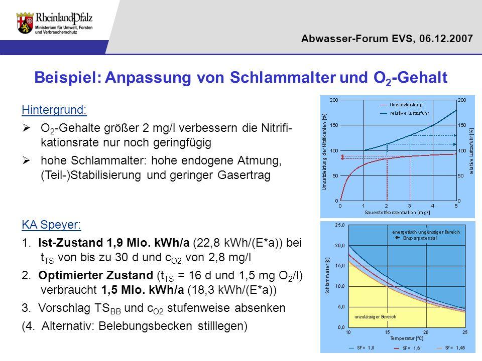Abwasser-Forum EVS, 06.12.2007 Beispiel: Anpassung von Schlammalter und O 2 -Gehalt Hintergrund: O 2 -Gehalte größer 2 mg/l verbessern die Nitrifi- ka