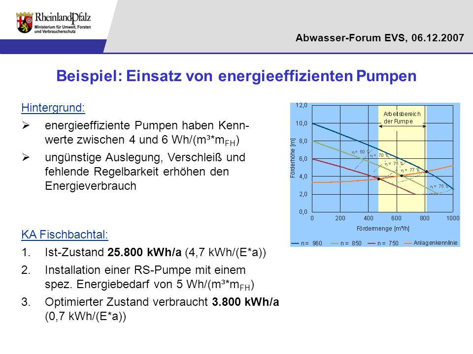 Abwasser-Forum EVS, 06.12.2007 Beispiel: Einsatz von energieeffizienten Pumpen Hintergrund: energieeffiziente Pumpen haben Kenn- werte zwischen 4 und