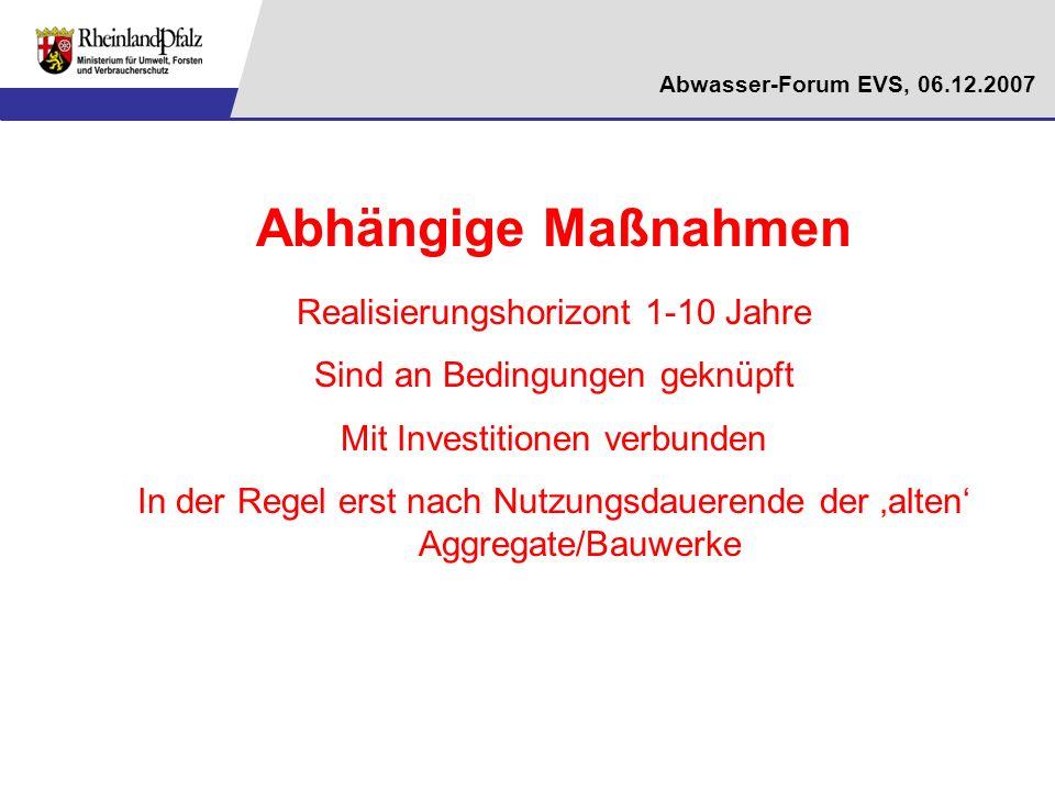 Abwasser-Forum EVS, 06.12.2007 Abhängige Maßnahmen Realisierungshorizont 1-10 Jahre Sind an Bedingungen geknüpft Mit Investitionen verbunden In der Re