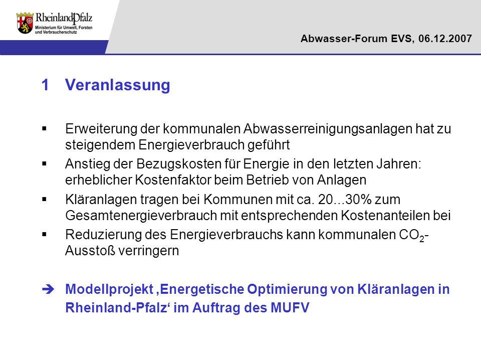 Abwasser-Forum EVS, 06.12.2007 Beispiel: Anpassung von Schlammalter und O 2 -Gehalt Hintergrund: O 2 -Gehalte größer 2 mg/l verbessern die Nitrifi- kationsrate nur noch geringfügig hohe Schlammalter: hohe endogene Atmung, (Teil-)Stabilisierung und geringer Gasertrag KA Speyer: 1.