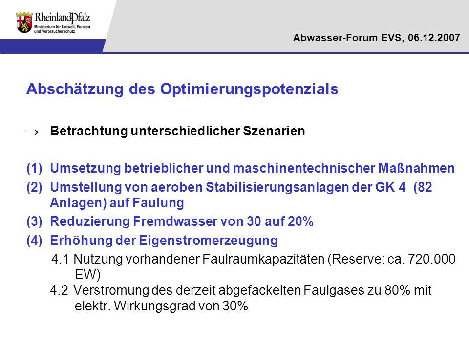 Abwasser-Forum EVS, 06.12.2007 Abschätzung des Optimierungspotenzials Betrachtung unterschiedlicher Szenarien (1)Umsetzung betrieblicher und maschinen