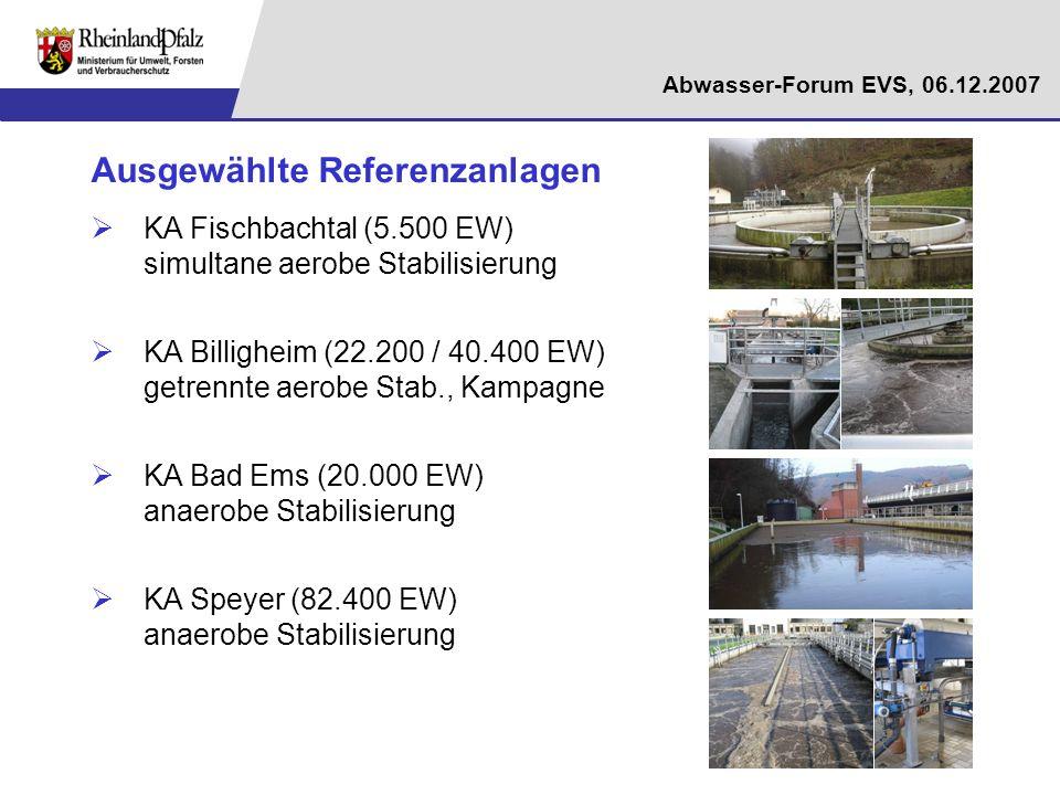 Abwasser-Forum EVS, 06.12.2007 Abschätzung des Optimierungspotenzials Betrachtung unterschiedlicher Szenarien (1)Umsetzung betrieblicher und maschinentechnischer Maßnahmen (2)Umstellung von aeroben Stabilisierungsanlagen der GK 4 (82 Anlagen) auf Faulung (3)Reduzierung Fremdwasser von 30 auf 20% (4)Erhöhung der Eigenstromerzeugung 4.1 Nutzung vorhandener Faulraumkapazitäten (Reserve: ca.