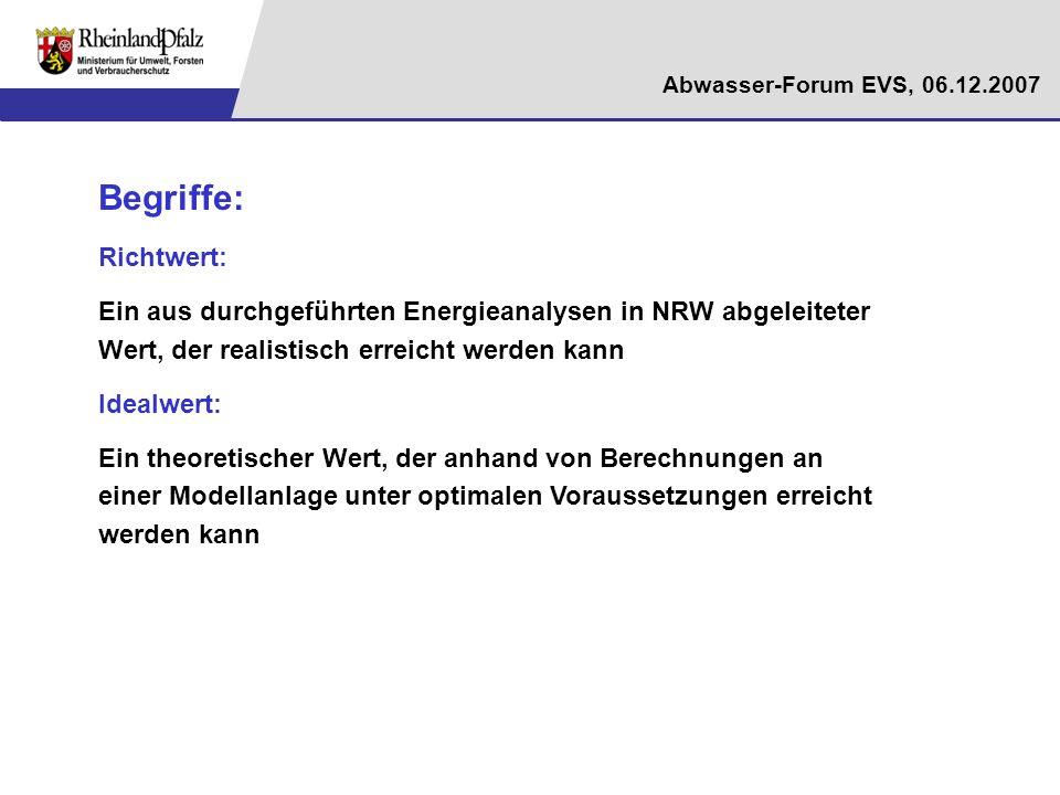Abwasser-Forum EVS, 06.12.2007 Begriffe: Richtwert: Ein aus durchgeführten Energieanalysen in NRW abgeleiteter Wert, der realistisch erreicht werden k