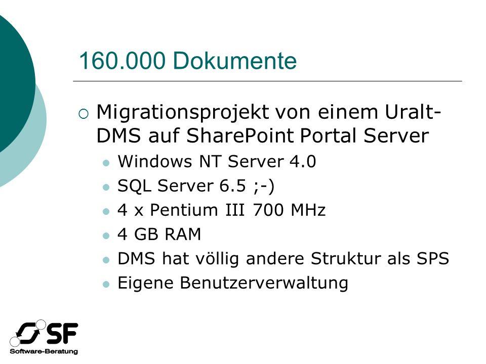 Migrationssoftware Komponente vom Dritten Exportiert Metadaten in XML-Dateien… … viele XML-Dateien ;-) Migrationssoftware von SF Basiert auf SF ApplicationCreator Schritt 1: XML Migrationsdatenbank Schritt 2: Dokumente SPS Redet mit WSS und SPS Objektmodell