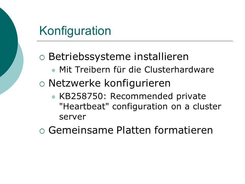 Konfiguration Betriebssysteme installieren Mit Treibern für die Clusterhardware Netzwerke konfigurieren KB258750: Recommended private Heartbeat configuration on a cluster server Gemeinsame Platten formatieren