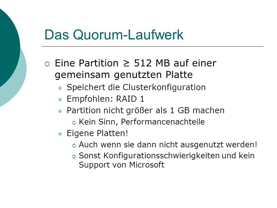 Das Quorum-Laufwerk Eine Partition 512 MB auf einer gemeinsam genutzten Platte Speichert die Clusterkonfiguration Empfohlen: RAID 1 Partition nicht größer als 1 GB machen Kein Sinn, Performancenachteile Eigene Platten.