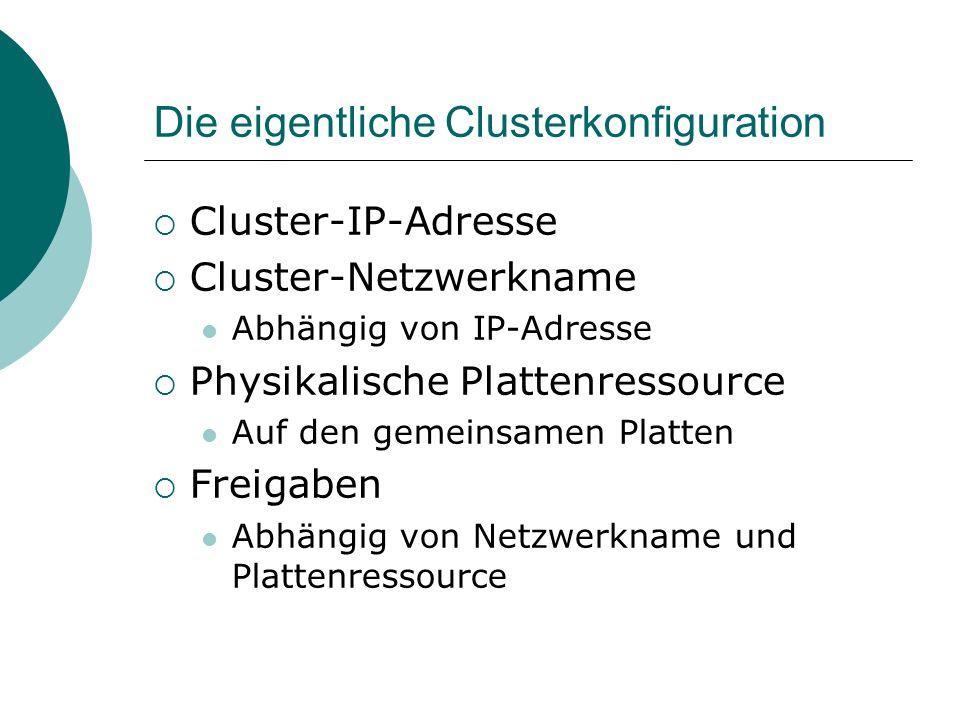 Die eigentliche Clusterkonfiguration Cluster-IP-Adresse Cluster-Netzwerkname Abhängig von IP-Adresse Physikalische Plattenressource Auf den gemeinsamen Platten Freigaben Abhängig von Netzwerkname und Plattenressource