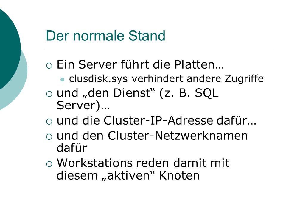Der normale Stand Ein Server führt die Platten… clusdisk.sys verhindert andere Zugriffe und den Dienst (z. B. SQL Server)… und die Cluster-IP-Adresse