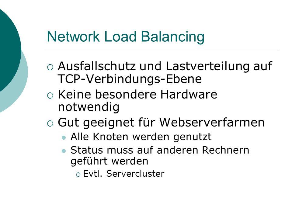 Network Load Balancing Ausfallschutz und Lastverteilung auf TCP-Verbindungs-Ebene Keine besondere Hardware notwendig Gut geeignet für Webserverfarmen Alle Knoten werden genutzt Status muss auf anderen Rechnern geführt werden Evtl.