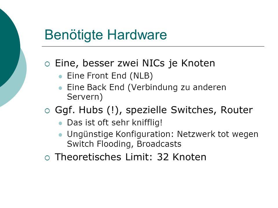 Benötigte Hardware Eine, besser zwei NICs je Knoten Eine Front End (NLB) Eine Back End (Verbindung zu anderen Servern) Ggf. Hubs (!), spezielle Switch