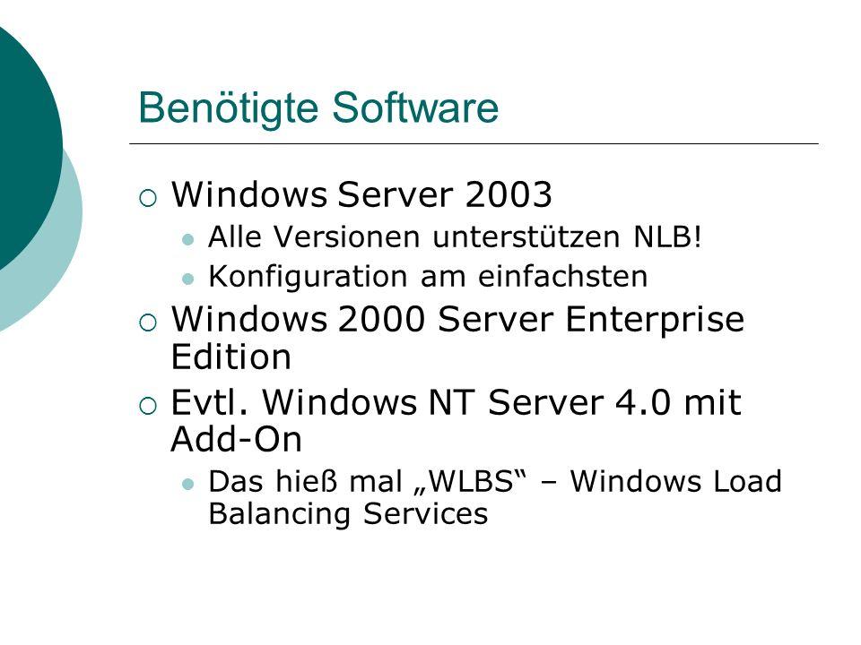 Benötigte Software Windows Server 2003 Alle Versionen unterstützen NLB.