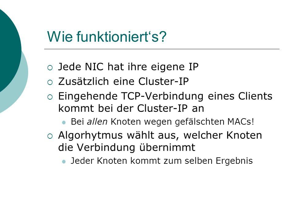 Wie funktionierts? Jede NIC hat ihre eigene IP Zusätzlich eine Cluster-IP Eingehende TCP-Verbindung eines Clients kommt bei der Cluster-IP an Bei alle