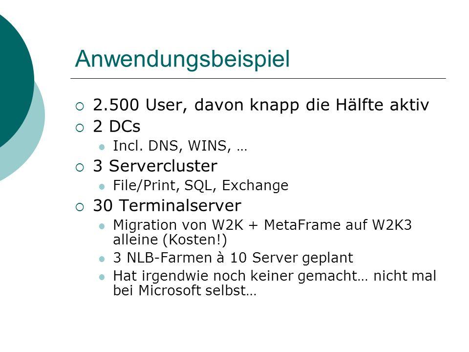 Anwendungsbeispiel 2.500 User, davon knapp die Hälfte aktiv 2 DCs Incl. DNS, WINS, … 3 Servercluster File/Print, SQL, Exchange 30 Terminalserver Migra