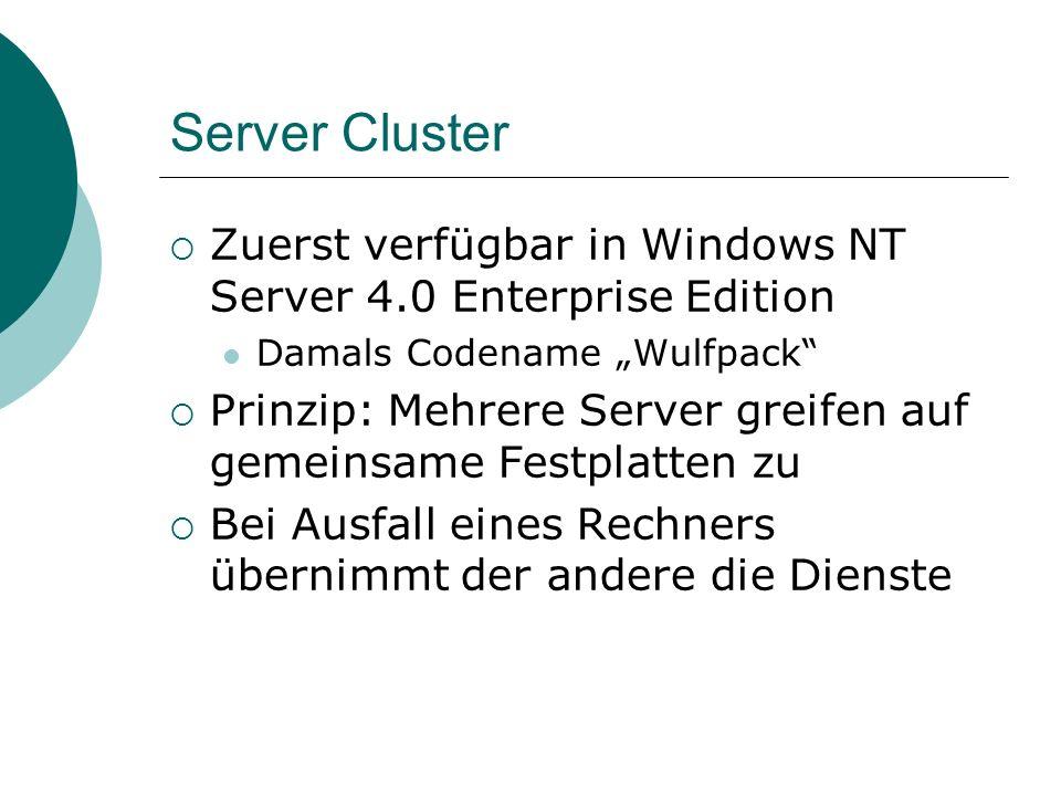 Server Cluster Zuerst verfügbar in Windows NT Server 4.0 Enterprise Edition Damals Codename Wulfpack Prinzip: Mehrere Server greifen auf gemeinsame Festplatten zu Bei Ausfall eines Rechners übernimmt der andere die Dienste