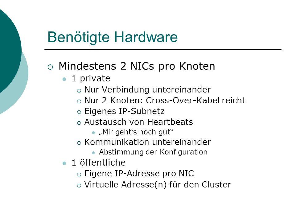 Benötigte Hardware Mindestens 2 NICs pro Knoten 1 private Nur Verbindung untereinander Nur 2 Knoten: Cross-Over-Kabel reicht Eigenes IP-Subnetz Austau