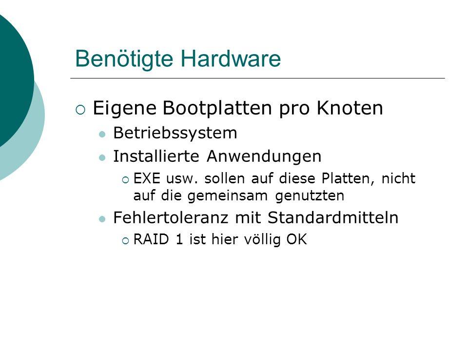 Benötigte Hardware Eigene Bootplatten pro Knoten Betriebssystem Installierte Anwendungen EXE usw. sollen auf diese Platten, nicht auf die gemeinsam ge