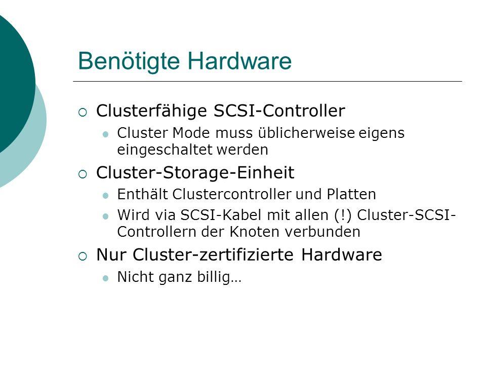 Benötigte Hardware Clusterfähige SCSI-Controller Cluster Mode muss üblicherweise eigens eingeschaltet werden Cluster-Storage-Einheit Enthält Clustercontroller und Platten Wird via SCSI-Kabel mit allen (!) Cluster-SCSI- Controllern der Knoten verbunden Nur Cluster-zertifizierte Hardware Nicht ganz billig…